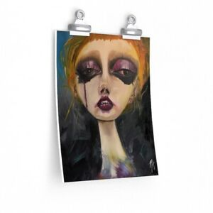 Premium Matte Oil Print Art. Expressionism female portrait Oil Print.