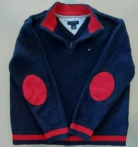 SZ 7 Tommy Hilfiger Kids Boys Quarter Zip Sweater Blue W Red Elbow Patches