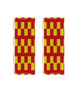 2x Northumberland County Flag - Gel Domed Number Plate Badges/Decals 107x42mm
