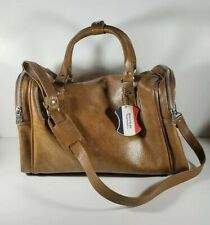 Vintage American Tourister Brown Tan Leather Carry On Duffel Hand Bag Luggage