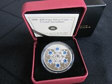 2008 $20 Crystal Snowflake: Sapphire - 99.99% Pure Silver Coin 'Limited Edition'