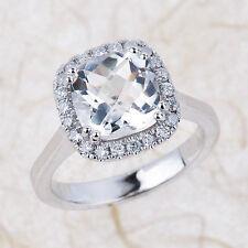 2.30CT White 8x8mm Cushion Cut Topaz & Diamond Engagement Ring 14k White Gold