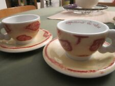 Thun Bozen 2 cappuccino Tassen mit Unterteller rotes Blätterdesign