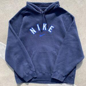 Vtg Nike Hoodie Sweatshirt Spellout Center Swoosh Y2K Navy Blue Fits XL 25x28 EC