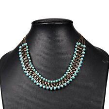 Women Crystal Bead Pendant Choker Chunky Statement Bib Necklace Chain Jewelry