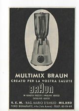 Pubblicità 1952 MULTIMIX FRULLATORE BRAUN MILANO old advertising werbung reklame