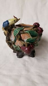 Antique French Majolica Cache Pot Planter Jardinière Bird, Fruit Barbotine