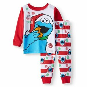 New Sesame Street Cookie Monster boys 12 month toddler Christmas snug fit pajama