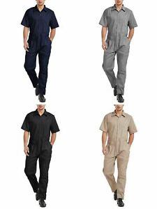TOPTIE Men's Light Weight Short-Sleeve Work Coverall with Elastic Waist