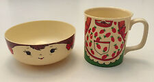 Vintage Carol Wright Plastic Girl Cup/Mug & Bowl Set