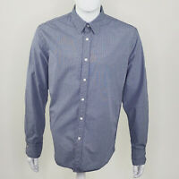 Express Men's Casual Fit Blue White Check Long Sleeve Button Up Large L 16 16.5
