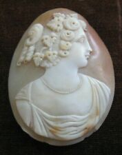 "2"" Classical Female for Brooch Pin Antique Victorian Cameo Shell Carving Large"