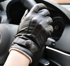 Men's Black Deluxe Fashion Genuine Goat Leather Wrist Gloves 3Lines Touch Screen