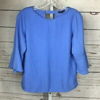 Massimo Dutti Womens Keyhole Back Bell Sleeve Blouse Size M Pearl Button