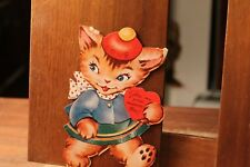 Circa 1930's Antique Valentine's Day Card Die Cut Cat Kitten