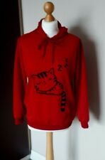 Bright Red Sleeping Cat Print /Hooded Sweat- Shirt with Ears/ Long sleeve Size M