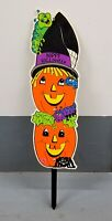 RARE VINTAGE HAPPY HALLOWEEN PUMPKIN GROUND STAKE SIGN PLASTIC YARD ART
