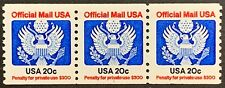 PNC, US Official Mail Coil Strip of 3 with plate #1, Scott O135, 20 Cts, MNH, VF