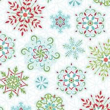 by 1/2 Yard Amanda Murphy Sparkle Snowflakes White Benartex Christmas Fabric
