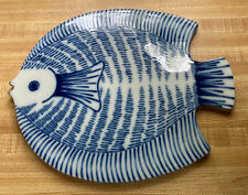 Fitz & Floyd Blu And White Fish Trivet Hot Plate Japan Flaw
