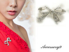 2 pcs Fashion jewelry crystal silver plate scarf Brooch pin bow tie ribbon D02