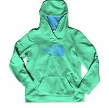 North Face Green Hoodie Women's LARGE Hooded Sweatshirt Logo Half Dome Warm Poly