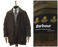 Mens BARBOUR Pure British Wool Coat Jacket Herringbone Tweed Green Size 2XL