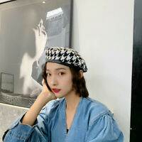 Lady Beret Houndstooth Hat Artist Black White Check Plaid Painter Casual Retro