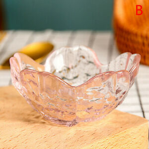 Pink glass cherry blossom dish seasoning dipping dish soy sauce dish Dishes sBW