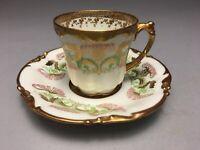 Jean Pouyat Limoges French Gold Gilt Demitasse Tea Cup & Saucer Art Nouveau