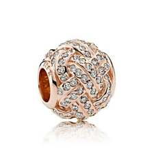 Authentic Genuine Pandora Rose Gold Sparkling Love Knot Bead 781537CZ