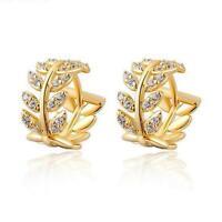 18K Gold Filled White Topaz Ear Studs Hoop Drop Dangle Earrings Jewelry Party