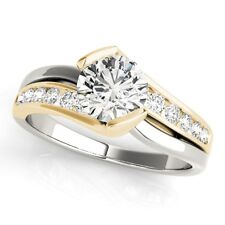14k TWO-TONE GOLD DIAMOND SEMI-MOUNT ROUND SWIRL MODERN DESIGN ENGAGEMENT RING