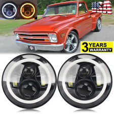 "2PCS 7"" Projector LED Headlight Halo Ring DRL for Chevy C10 C20 C30 K10 G10 G20"
