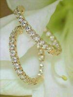 3.00 Ct Round Cut VVS1/D Diamond Huggie Hoop Earrings 14K Yellow Gold Finish