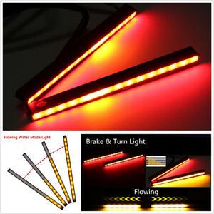 2 Pcs Switchback Flowing 29LED Red+Amber Car Turn Signal Lights Brake Lamps DRL