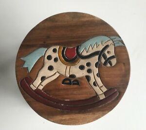 Childrens/Childs/Kids Wooden Stool - Rocking Horse