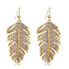 Solid Yellow Lovely Dangle Leaf White New Feather Shape Golden Zircon Earrings