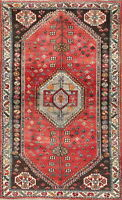 One-of-a-kind Tribal Geometric Abadeh Persian Oriental Hand-Knotted 4x6 Wool Rug