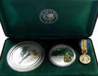2003 AUSTRALIANS AT WAR WORLD WAR 1 2oz Kookaburra Coin & 1oz Medallion Set