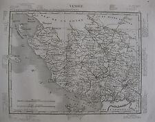 1835 Carte Atlas Géographique France Vendée Sables d'Olonne île de Rée