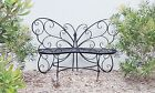 French butterfly black garden bench seater outdoor wrought iron unique design