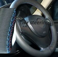 FITS BMW X3 E83 REAL BLACK ITALIAN LEATHER STEERING WHEEL COVER M3 /// STITCHING