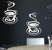 2 HUGE  TEA CUP STICKERS / KITCHEN WALL QUOTE / VINYL WALL STICKER / STENCIL N67