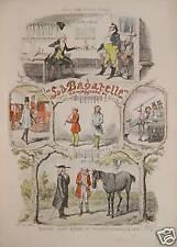 Cruikshank Bagatelle Horse Billard comic song Klarinette Pferde-Händler Musikant