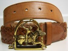 Polo Ralph Lauren RL-90 Braided Leather Belt LARGE Polo Player Buckle 34 VINTAGE