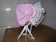 ADULT BABY~SISSY~MAIDS~ UNISEX~HEN~STAG PARTY~  GINGHAM & LACE TRIM BONNET