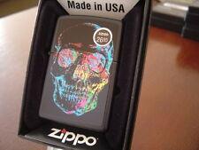 ZIPPO HUMAN SKULL ON BLACK MATTE ZIPPO LIGHTER MINT IN BOX