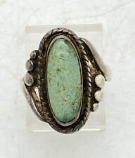 """Navajo Bell Trading Post Sterling Silver Turquoise Ring Tooled Sz 4.75 4g 3/4"""""""
