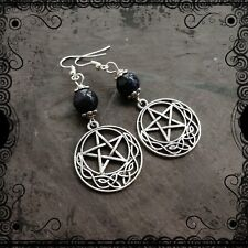 Celtic pentacle earrings, midnight blue sparkly goldstone, witch, pagan, Wiccan
